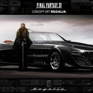 Concept Art de la Regalia, la voiture conduite par Noctis et sa bande