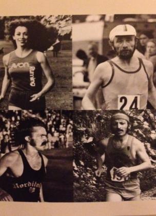 En haut de gauche à droite : K. Switzer et Fred Lebow. En bas, de gauche à droite : Steve Prefontaine et Noël Tamini