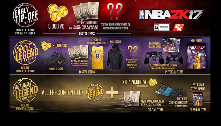 NBA 2K17 editions