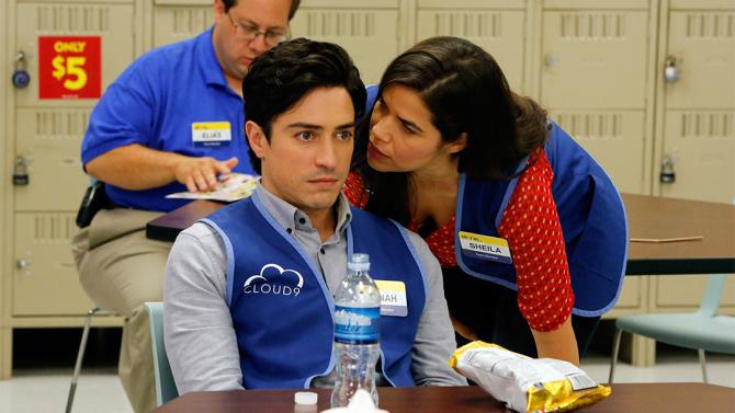 "SUPERSTORE -- ""Mannequin"" Episode 103 -- Pictured: (l-r) Ben Feldman as Jonah, America Ferrera as Amy -- (Photo by: Vivian Zink/NBC)"