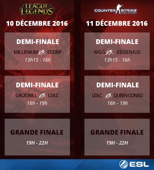 Programme des finales ESL 2016