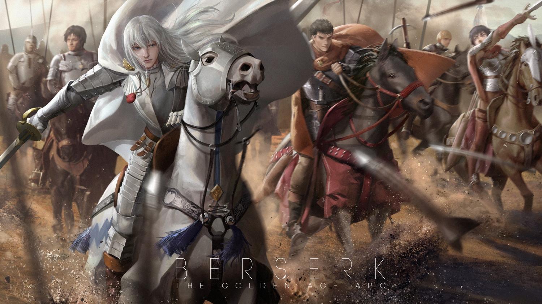 Konachan.com - 201994 animal armor behelit berserk caska corvus griffith guts horse lightofheaven male rickert sword weapon white_hair