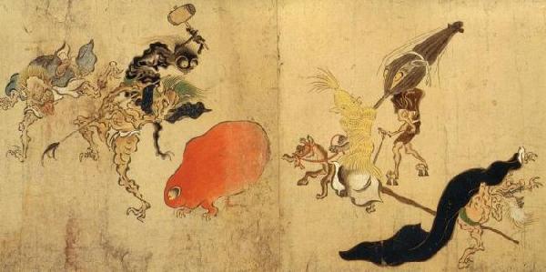 Extrait de l'emakimono Hyakki-yagyô-emaki tsukumogami représentant des yôkai.