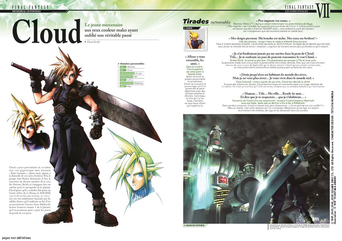 cloud final fantasy memorial ultimania