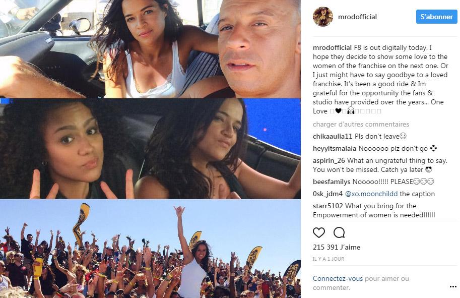 Le post sur Instagram de Michelle Rodriguez dénonçant le machisme de la saga Fast & Furious