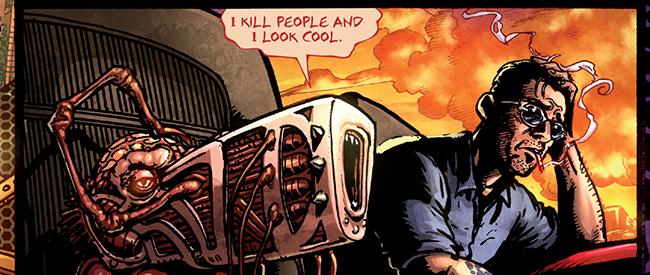 Butch discute avec son arme.