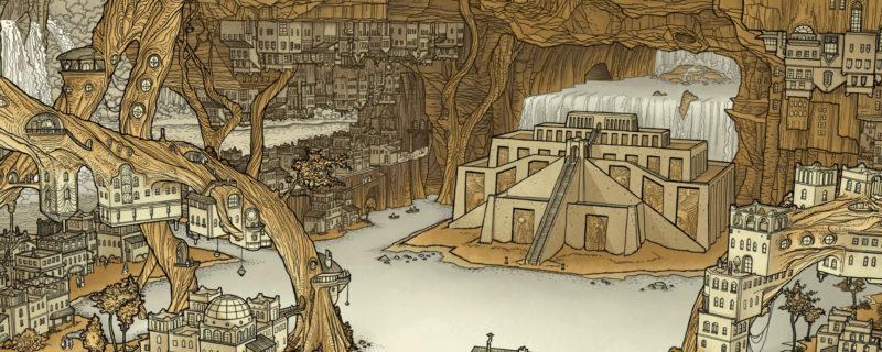 Une cité souterraine entourée par les racines de l'arbre de vie