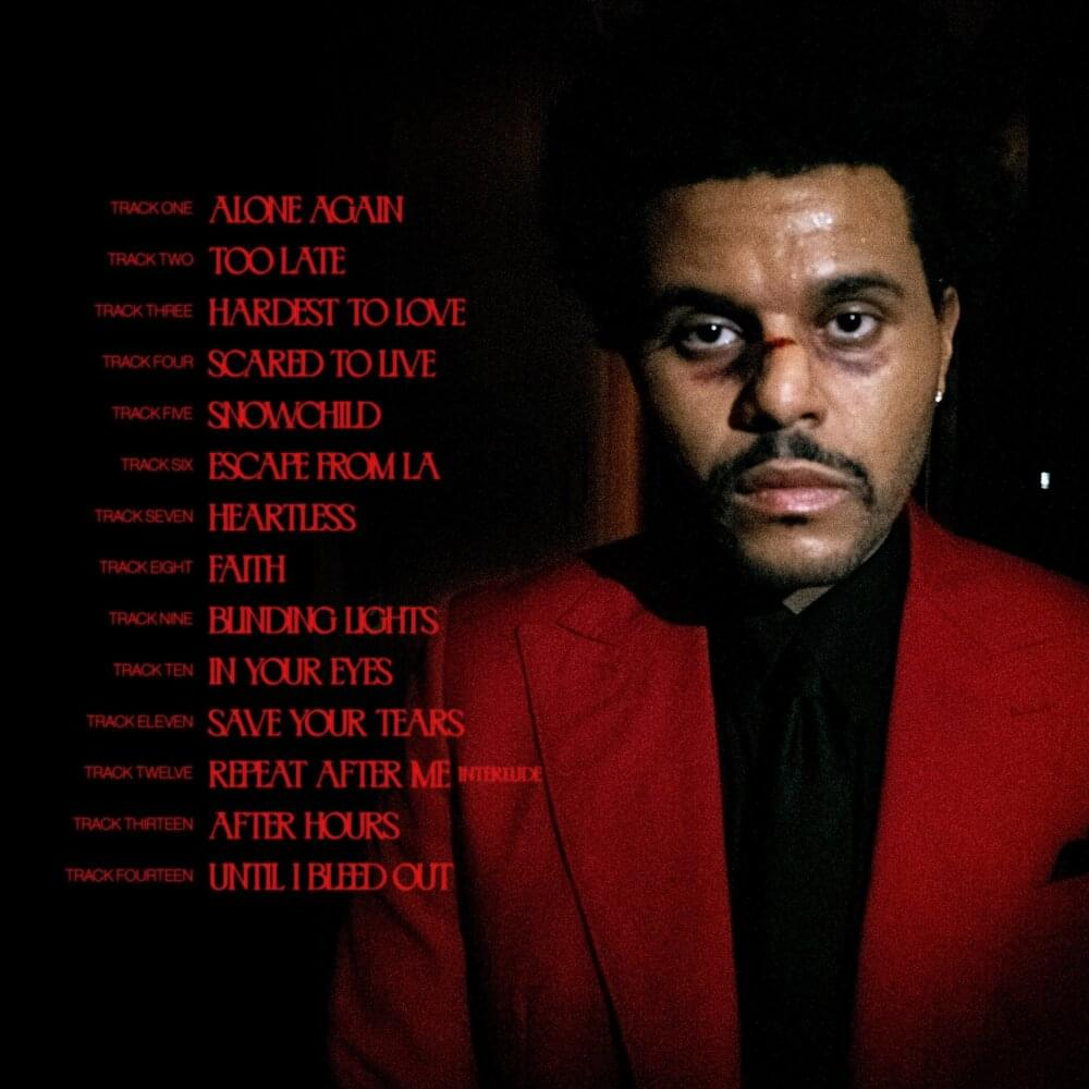 The Weeknd Tracklist Album After Hours