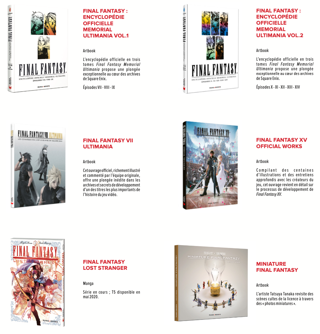 Titres final Fantasy chez mana Books