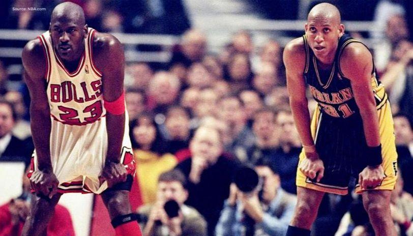 Michael Jordan des Bulls et Reggie Miller des Pacers face à face en playoffs