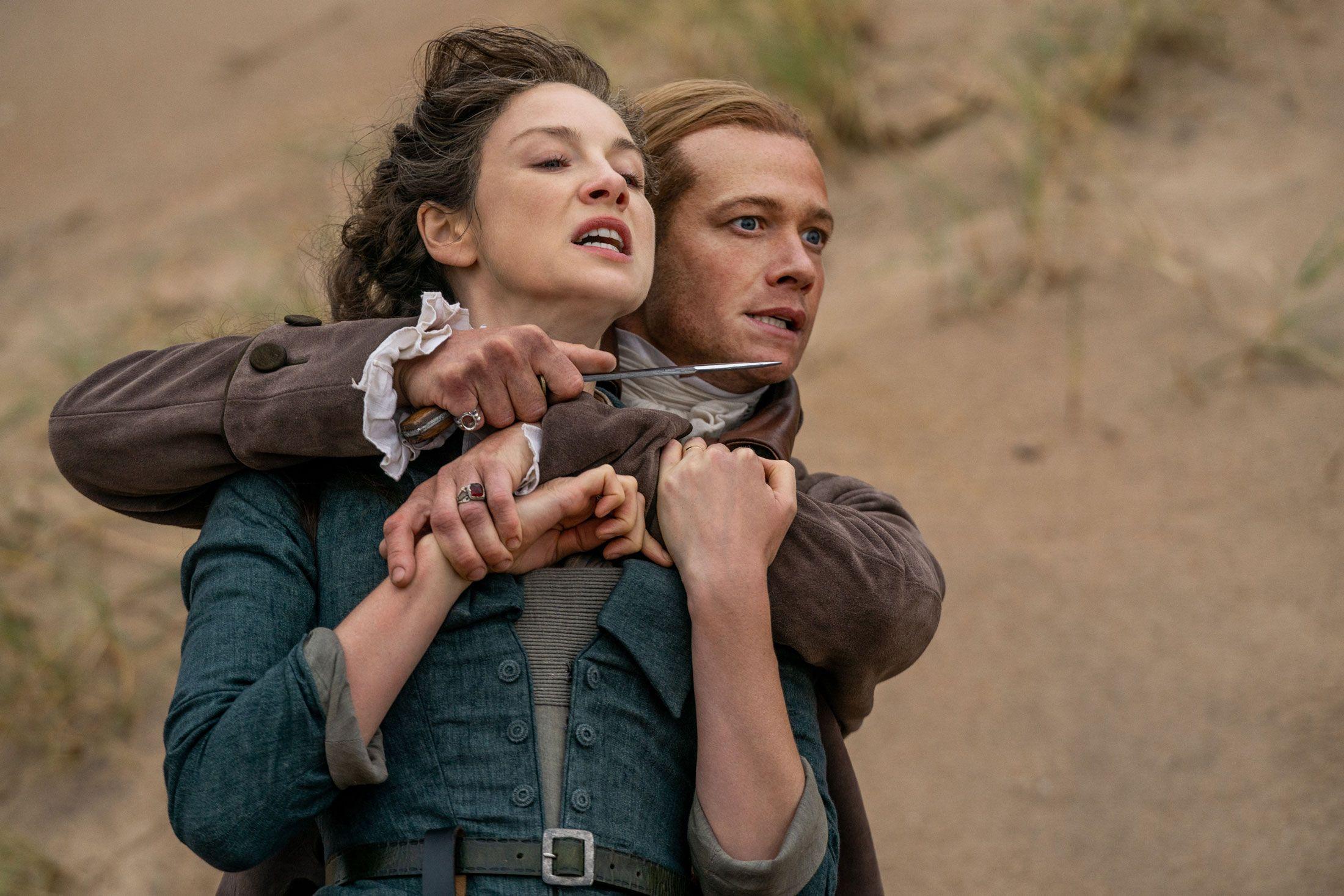 Caitriona Balfe (Claire Fraser) & Ed Speleers (Stephen Bonnet)