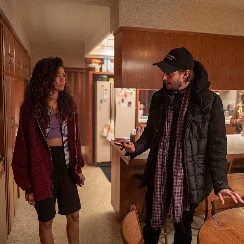 Zendaya and Sam Levinson on the set of season 1 – © Instagram: @euphoria