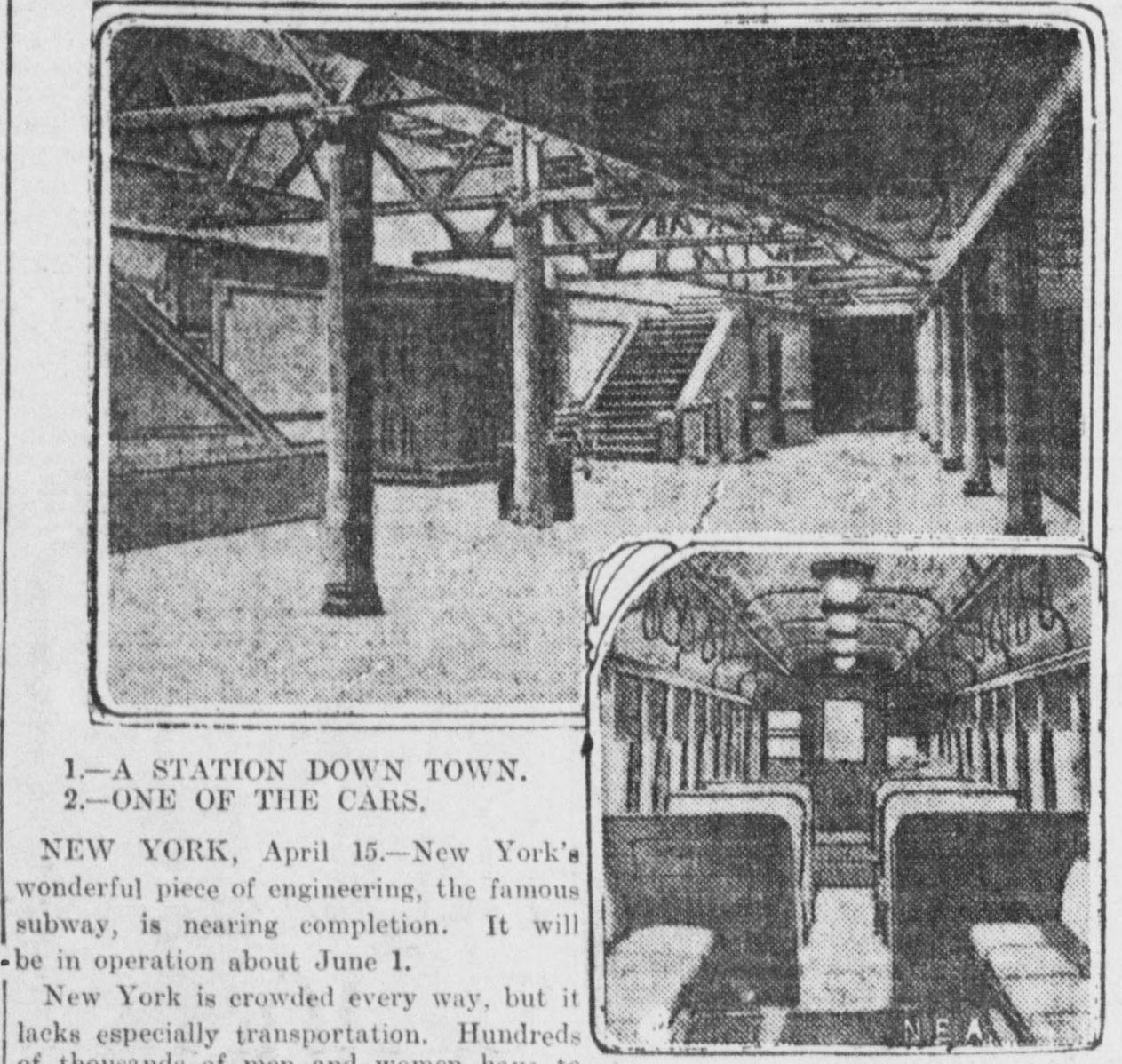 Annonce de l'ouverture du New York Subway 1904. © Wikimedia Commons, Domaine Public