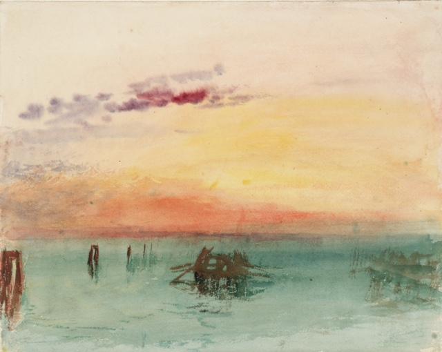 Venise vue sur la lagune au coucher du soleil