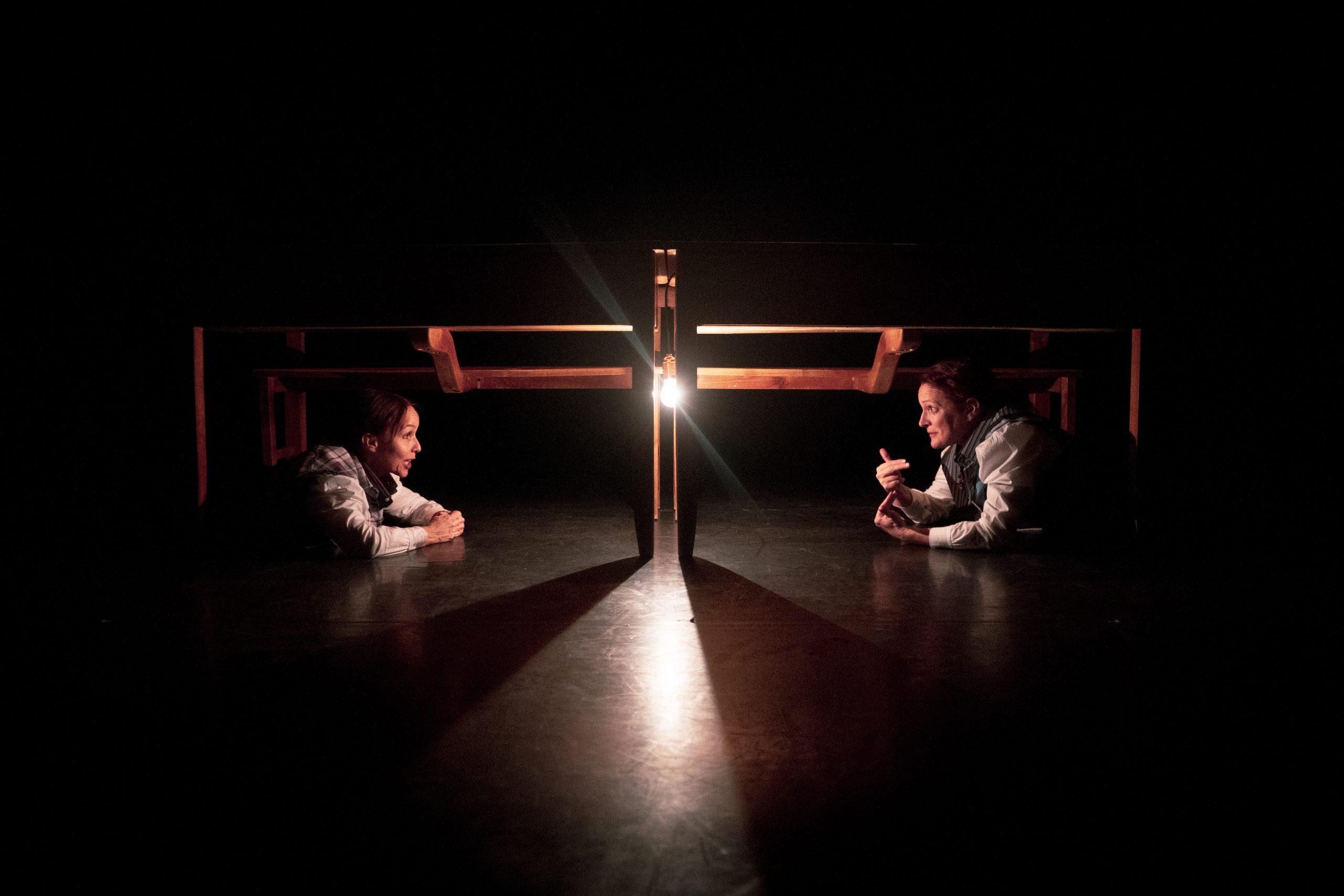 Anne de Boissy et Isabelle de Voizeux dans la pièce L'analphabète.