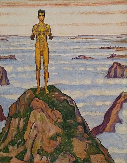 """La peinture """"Regard dans l'infini III"""" de Ferdinand Hodler a été mise en parallèle avec """"A la lumière d'hiver"""" de Philippe Jaccottet."""