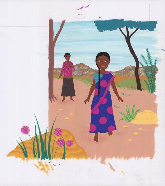 """Double page brute de l'illustratrice Clémence Pollet pour l'adaptation intitulée """"La Tresse ou le voyage de Lalita"""", chez Grasset Jeunesse. Une adaptation qui se concentrera sur la partie indienne du roman."""
