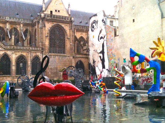 Niki de Saint Phalle et Jean Tinguely, «Fontaine Stravinsky», sculptures, place Igor Stravinsky, Paris (4e arrondissement), 1983.