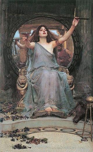 """John William Waterhouse, """"Circé offrant la coupe de drogue à Ulysse"""", peinture à l'huile, 1891."""