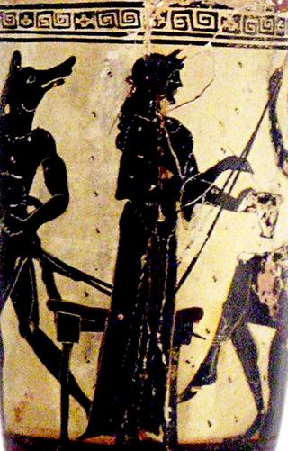 """""""Circé offrant une coupe à Ulysse"""", détail d'un lécythe du peintre d'Athéna, vers 490-480 av. J.-C., trouvé à Érétrie. Musée national archéologique d'Athènes (cote 1133)."""