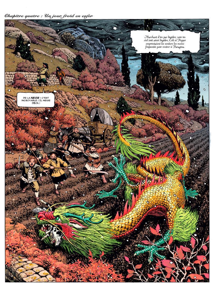 Paysans et dragon dans Colt & Pepper